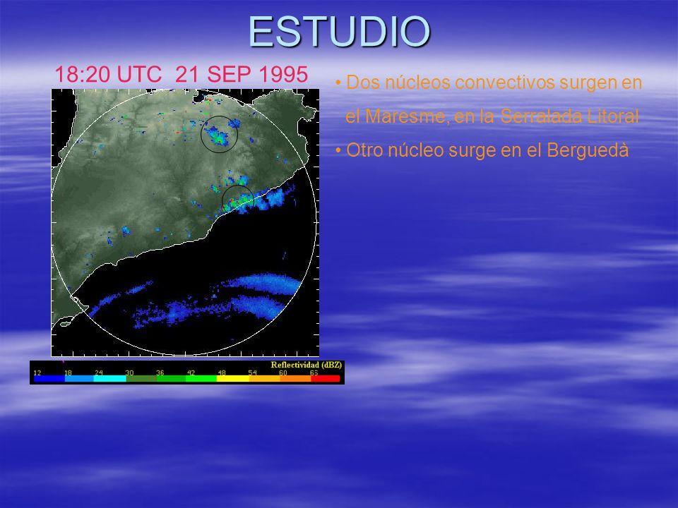 ESTUDIO 18:20 UTC 21 SEP 1995 Dos núcleos convectivos surgen en
