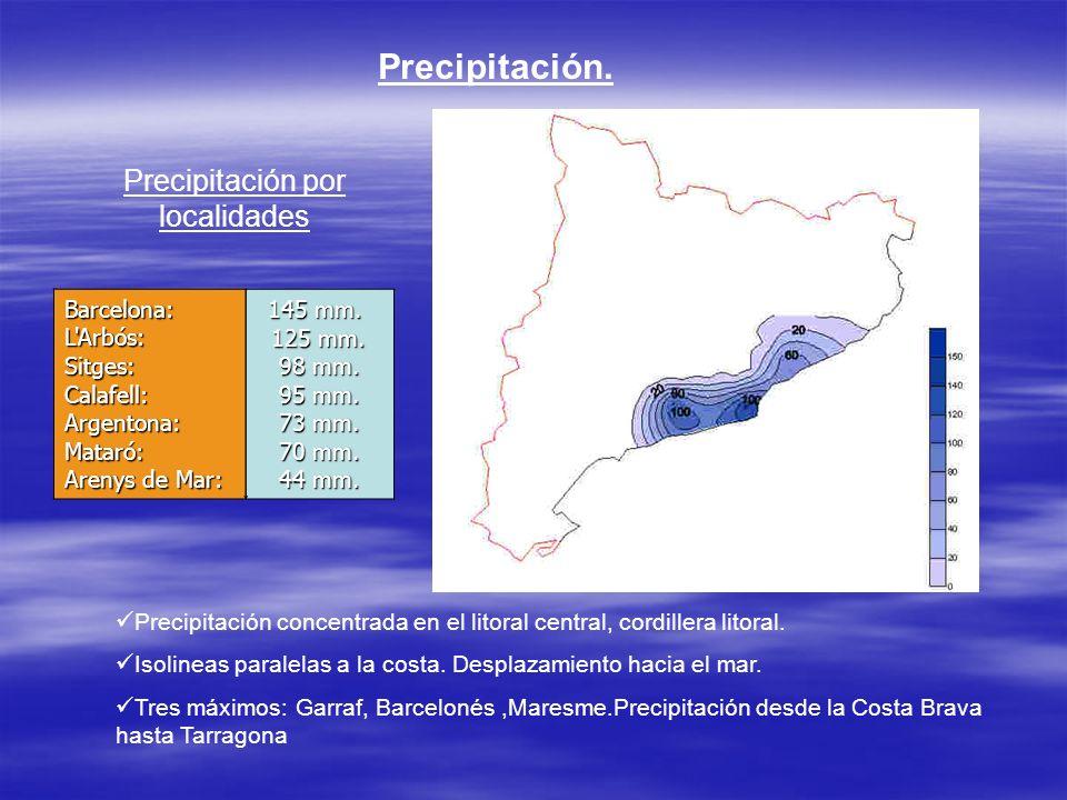 Precipitación por localidades
