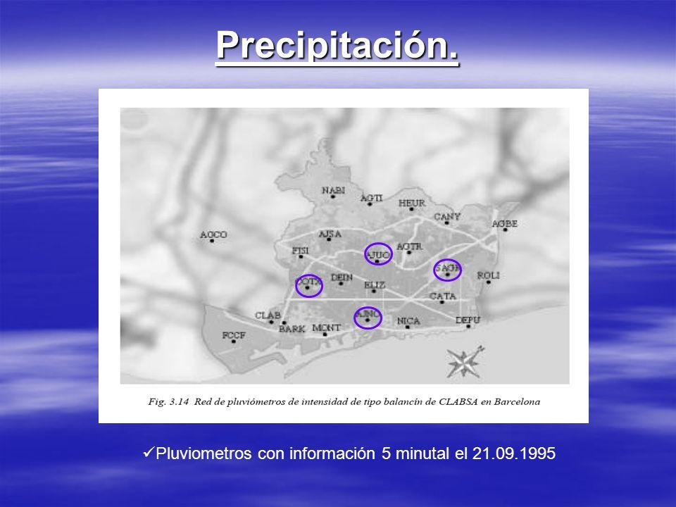 Precipitación. Pluviometros con información 5 minutal el 21.09.1995