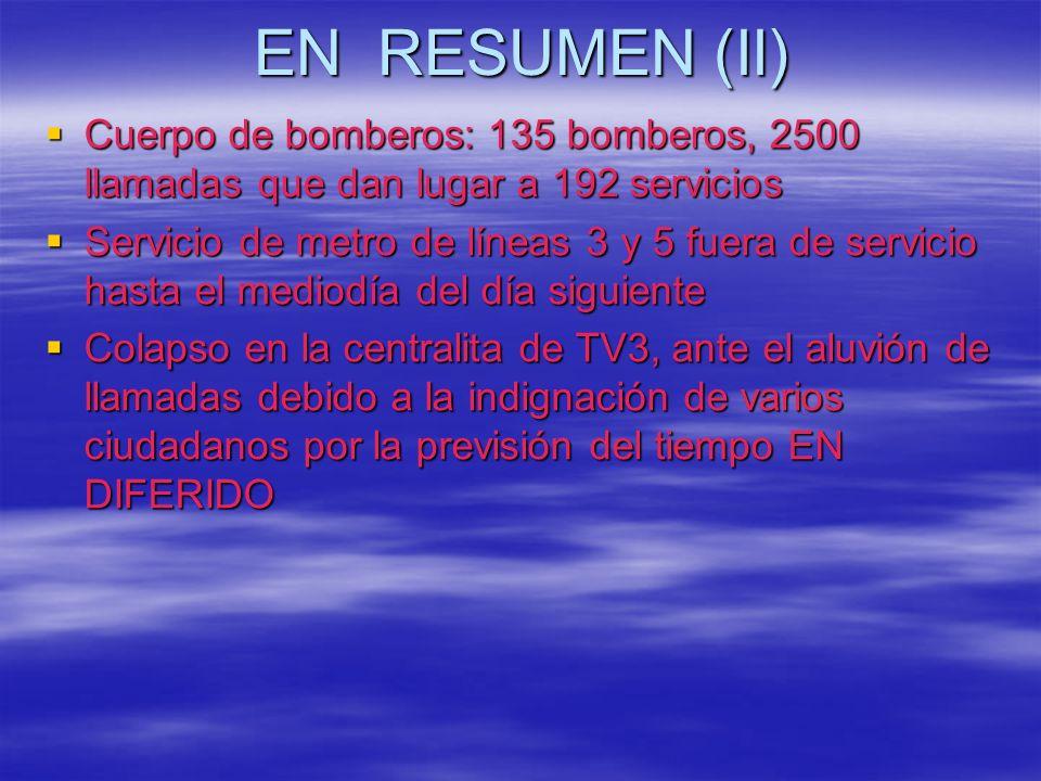 EN RESUMEN (II) Cuerpo de bomberos: 135 bomberos, 2500 llamadas que dan lugar a 192 servicios.