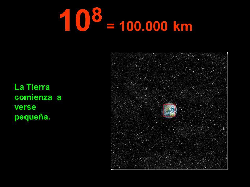 108 = 100.000 km La Tierra comienza a verse pequeña.