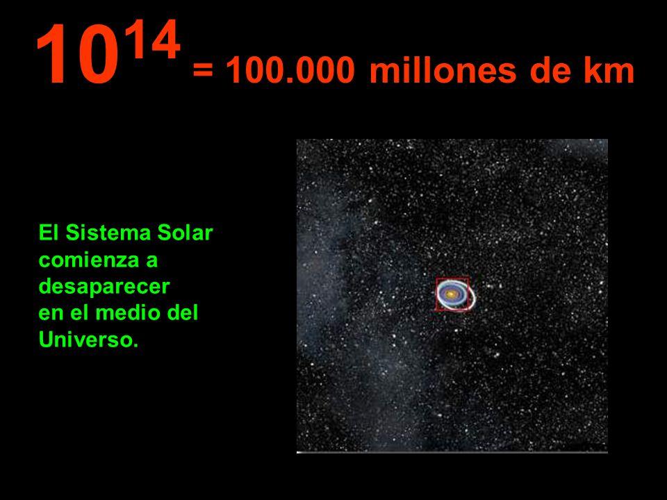 1014 = 100.000 millones de km El Sistema Solar comienza a desaparecer en el medio del Universo.