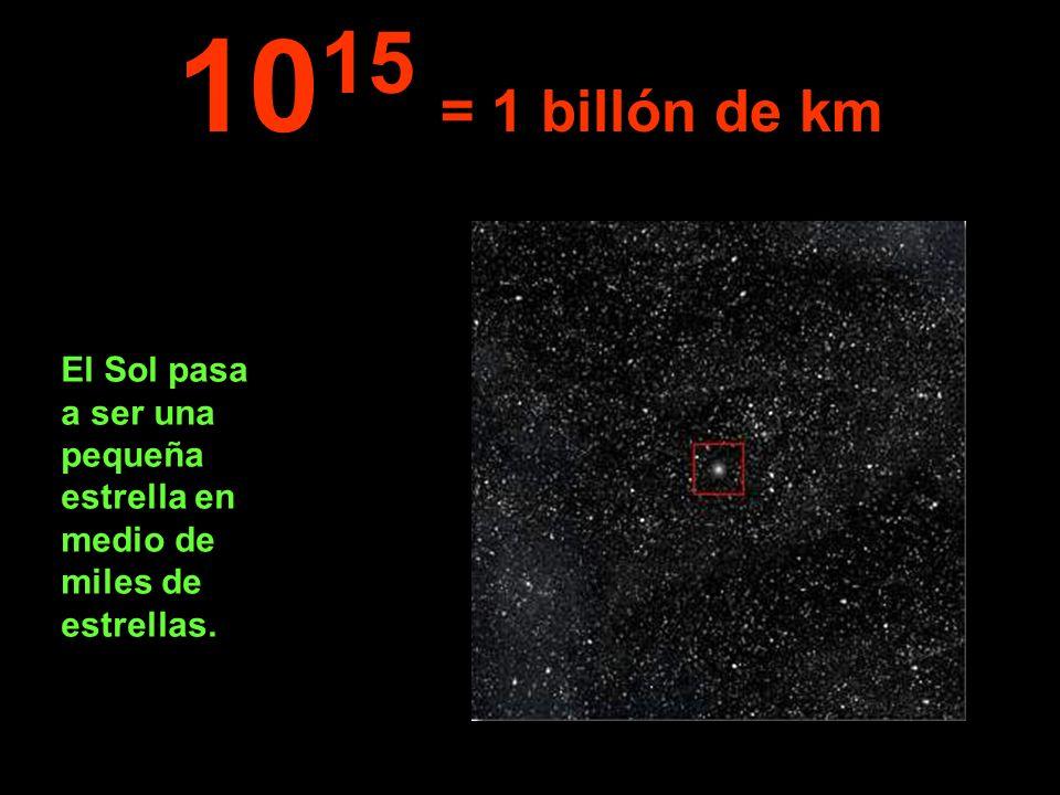 1015 = 1 billón de km El Sol pasa a ser una pequeña estrella en medio de miles de estrellas.