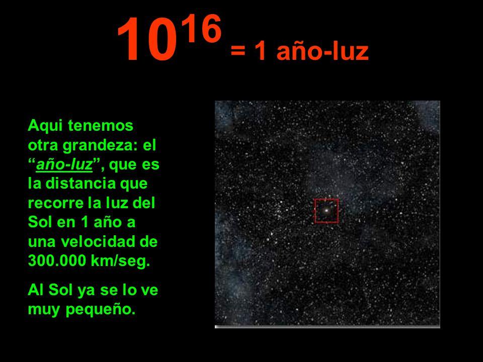 1016 = 1 año-luz Aqui tenemos otra grandeza: el año-luz , que es la distancia que recorre la luz del Sol en 1 año a una velocidad de 300.000 km/seg.