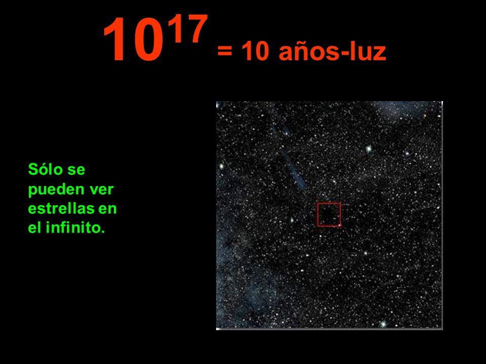 1017 = 10 años-luz Sólo se pueden ver estrellas en el infinito.
