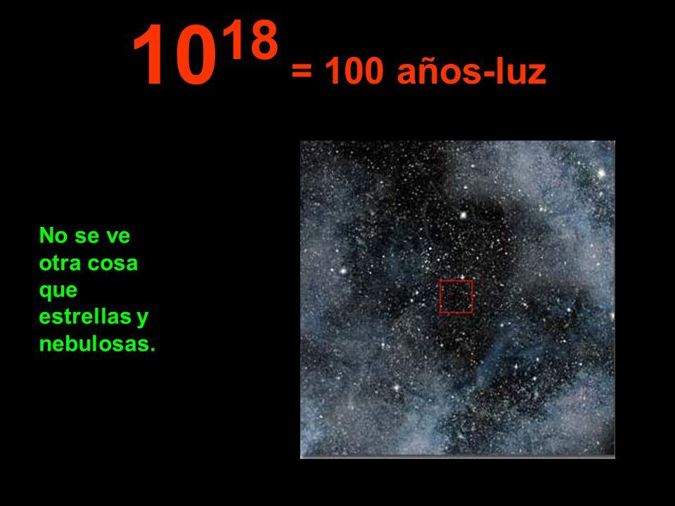 1018 = 100 años-luz No se ve otra cosa que estrellas y nebulosas.