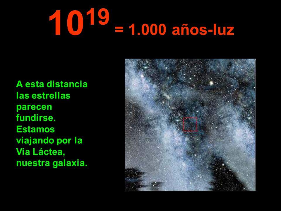 1019 = 1.000 años-luz A esta distancia las estrellas parecen fundirse.
