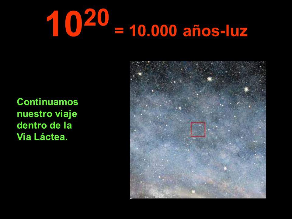 1020 = 10.000 años-luz Continuamos nuestro viaje dentro de la Via Láctea.