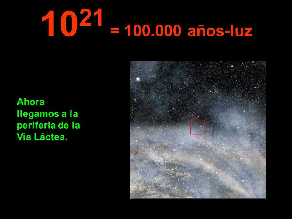 1021 = 100.000 años-luz Ahora llegamos a la periferia de la Via Láctea.