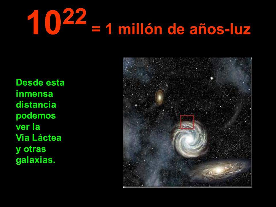 1022 = 1 millón de años-luz Desde esta inmensa distancia podemos ver la Via Láctea y otras galaxias.