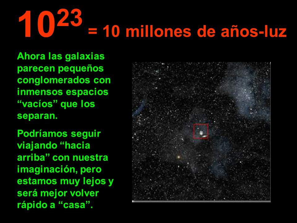 1023 = 10 millones de años-luz Ahora las galaxias parecen pequeños conglomerados con inmensos espacios vacíos que los separan.