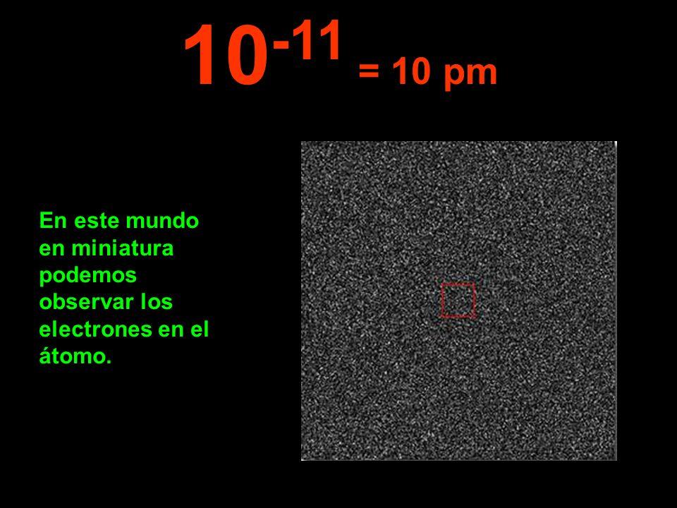 10-11 = 10 pm En este mundo en miniatura podemos observar los electrones en el átomo.