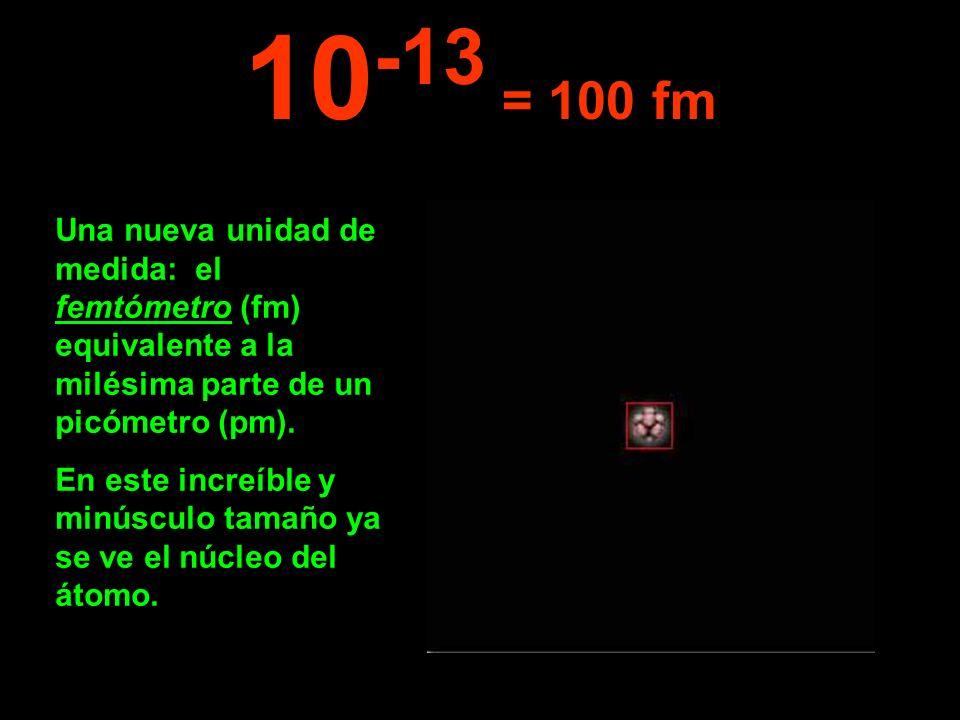 10-13 = 100 fm Una nueva unidad de medida: el femtómetro (fm) equivalente a la milésima parte de un picómetro (pm).