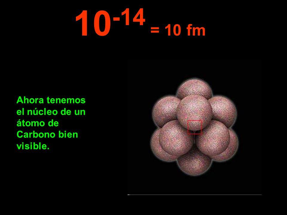 10-14 = 10 fm Ahora tenemos el núcleo de un átomo de Carbono bien visible.