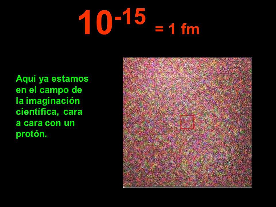 10-15 = 1 fm Aquí ya estamos en el campo de la imaginación científica, cara a cara con un protón.
