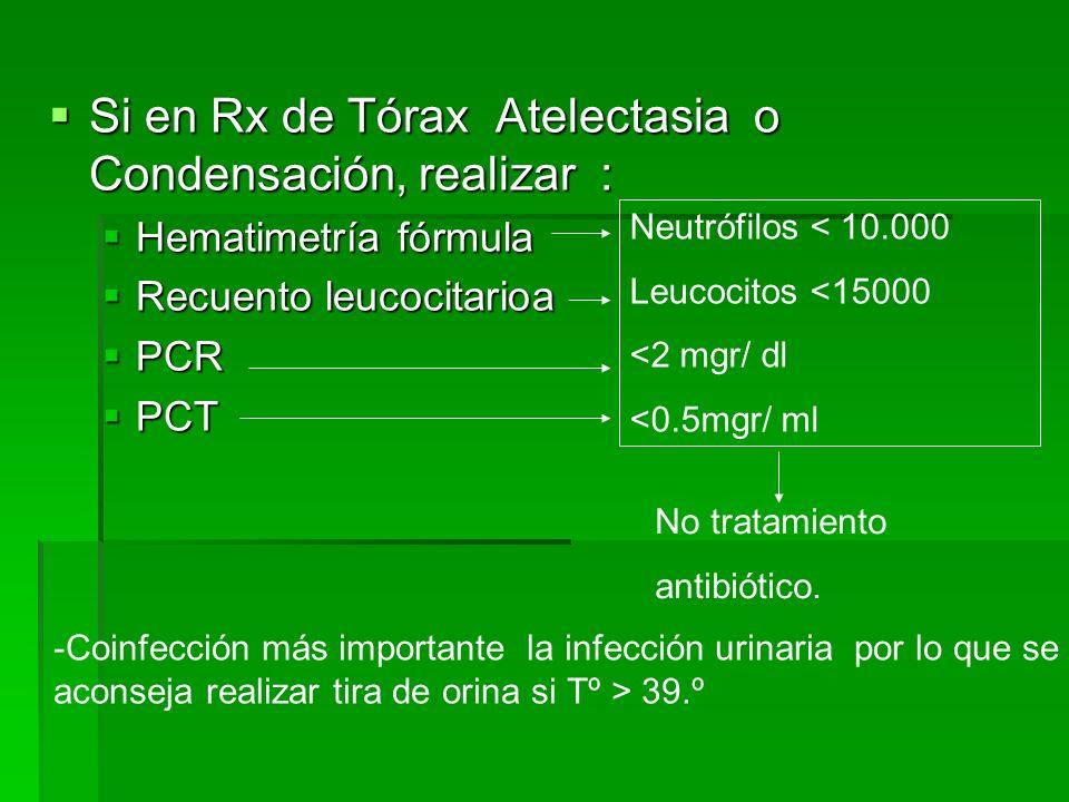 Si en Rx de Tórax Atelectasia o Condensación, realizar :
