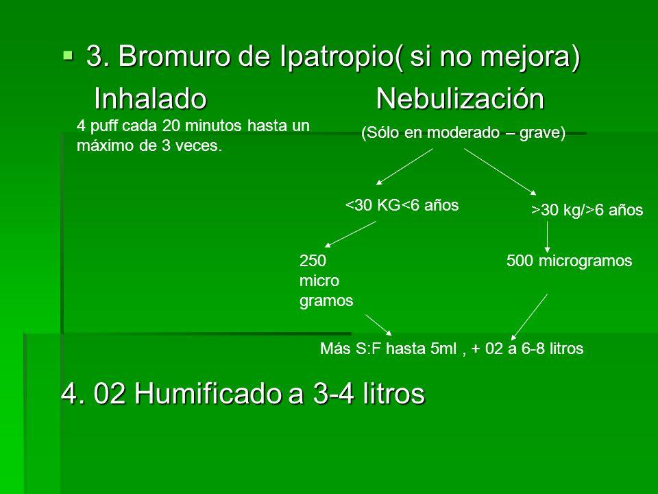 3. Bromuro de Ipatropio( si no mejora) Inhalado Nebulización