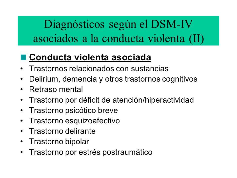 Diagnósticos según el DSM-IV asociados a la conducta violenta (II)