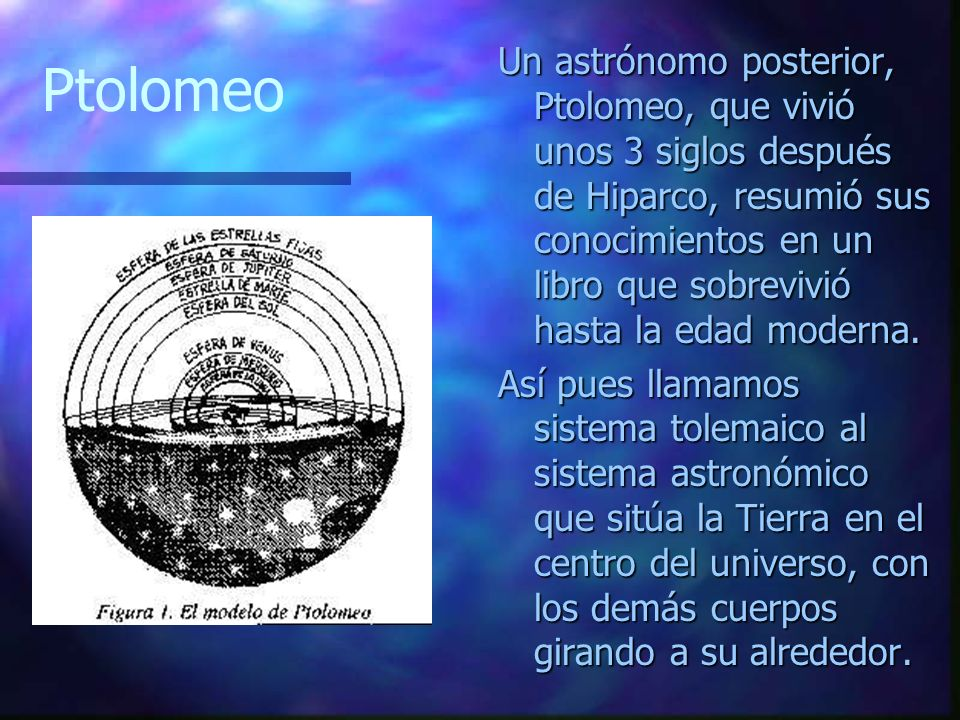 Un astrónomo posterior, Ptolomeo, que vivió unos 3 siglos después de Hiparco, resumió sus conocimientos en un libro que sobrevivió hasta la edad moderna.