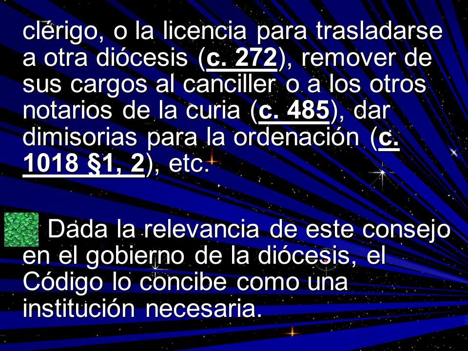 clérigo, o la licencia para trasladarse a otra diócesis (c