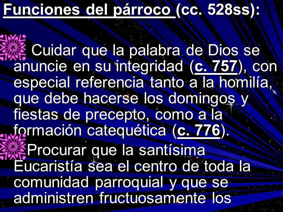 Funciones del párroco (cc. 528ss):