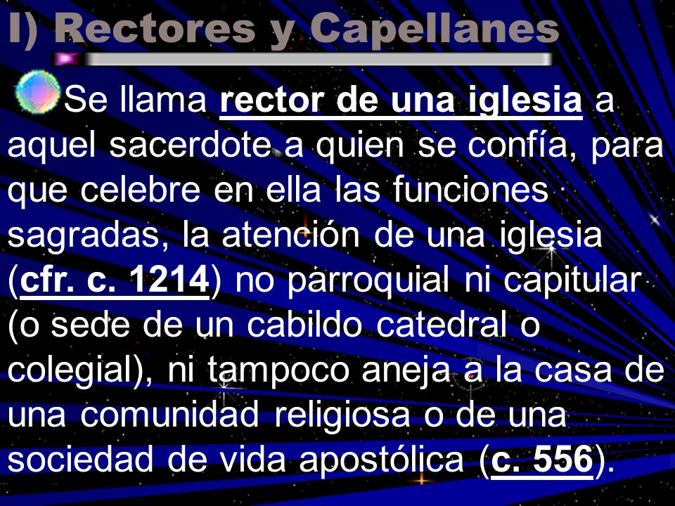 I) Rectores y Capellanes