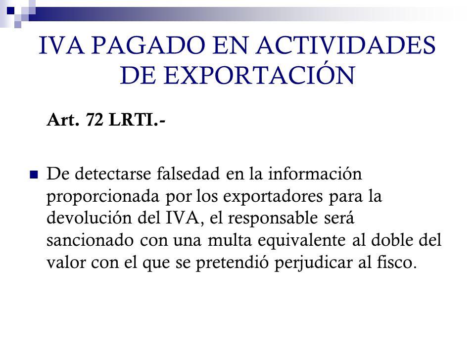 IVA PAGADO EN ACTIVIDADES DE EXPORTACIÓN