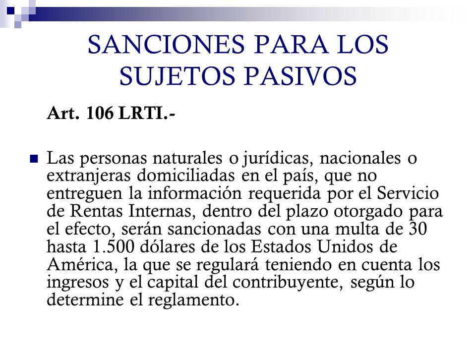 SANCIONES PARA LOS SUJETOS PASIVOS