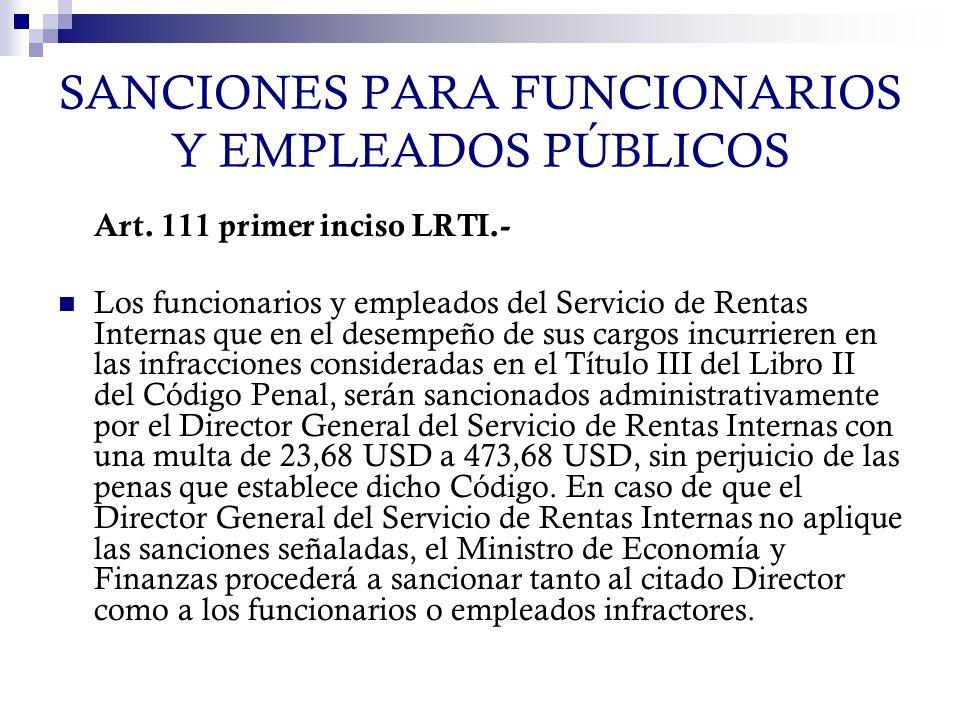 SANCIONES PARA FUNCIONARIOS Y EMPLEADOS PÚBLICOS