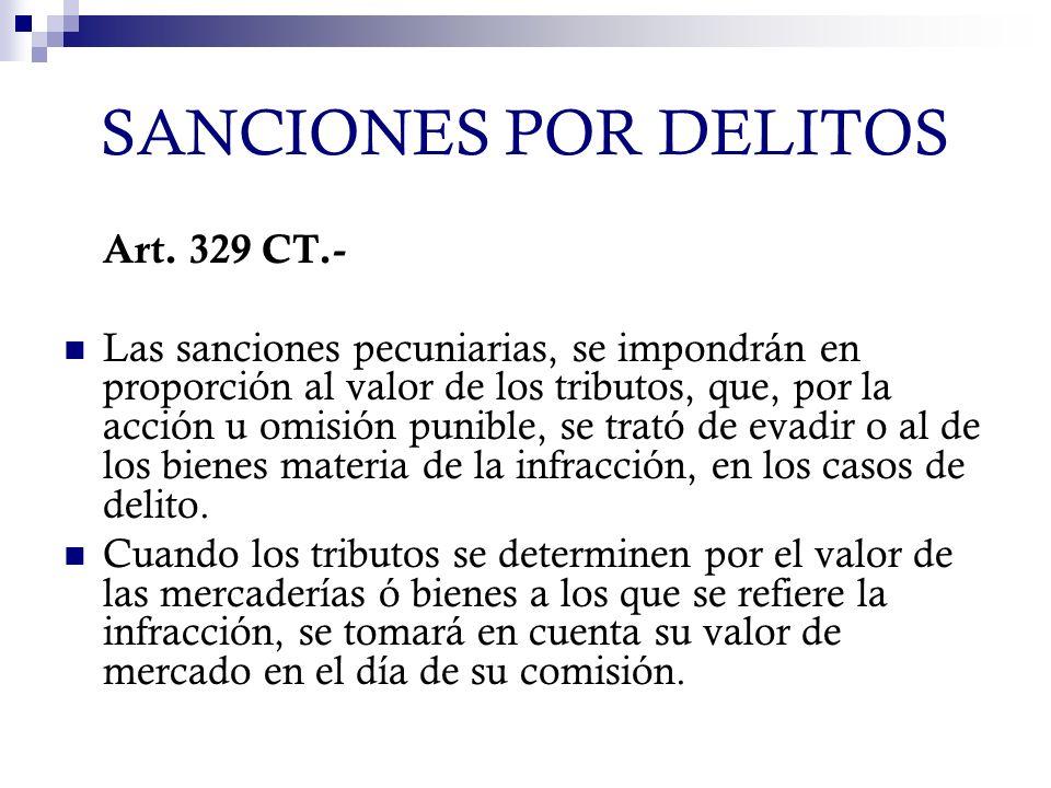 SANCIONES POR DELITOS Art. 329 CT.-