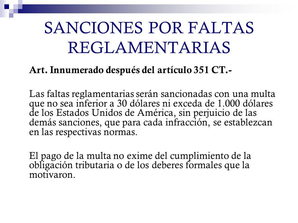 SANCIONES POR FALTAS REGLAMENTARIAS