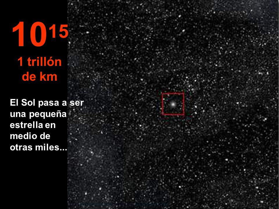 1015 1 trillón de km El Sol pasa a ser una pequeña estrella en medio de otras miles...
