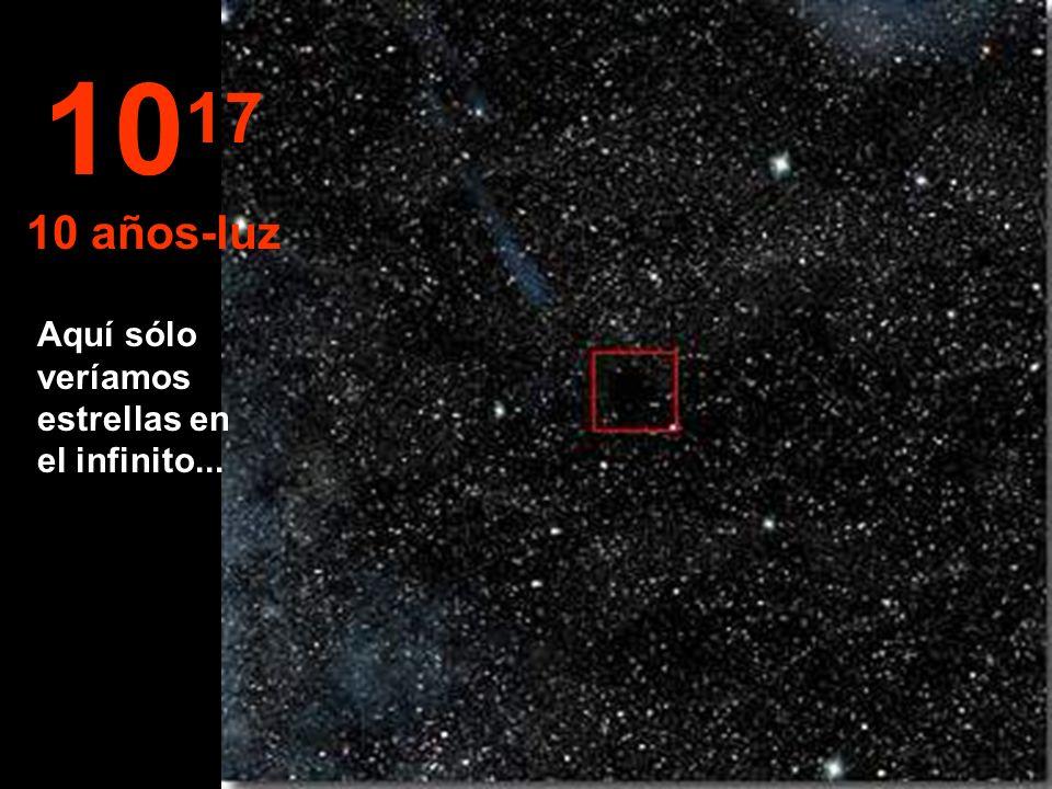 1017 10 años-luz Aquí sólo veríamos estrellas en el infinito...