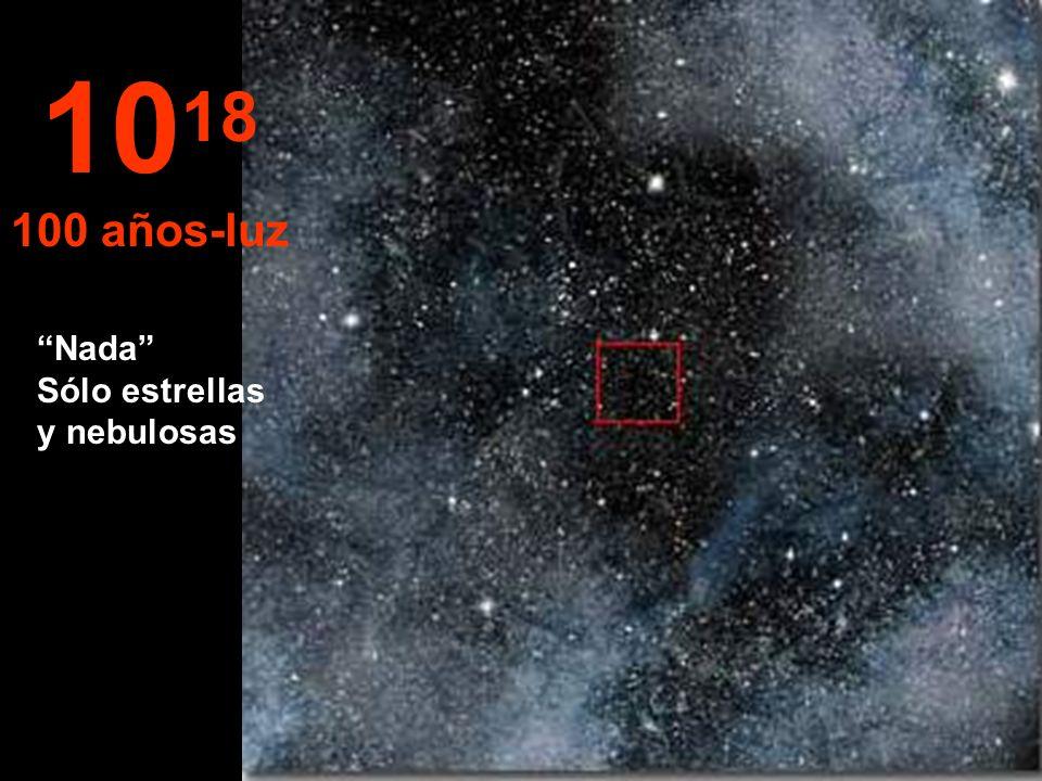 1018 100 años-luz Nada Sólo estrellas y nebulosas