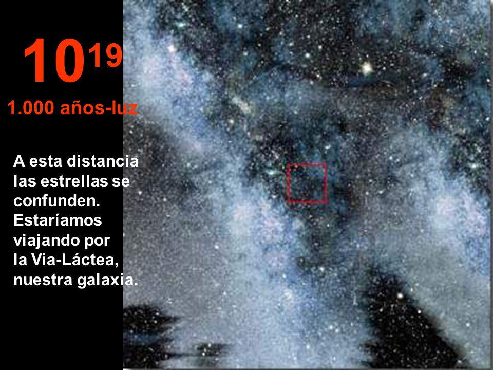 1019 1.000 años-luz. A esta distancia las estrellas se confunden.