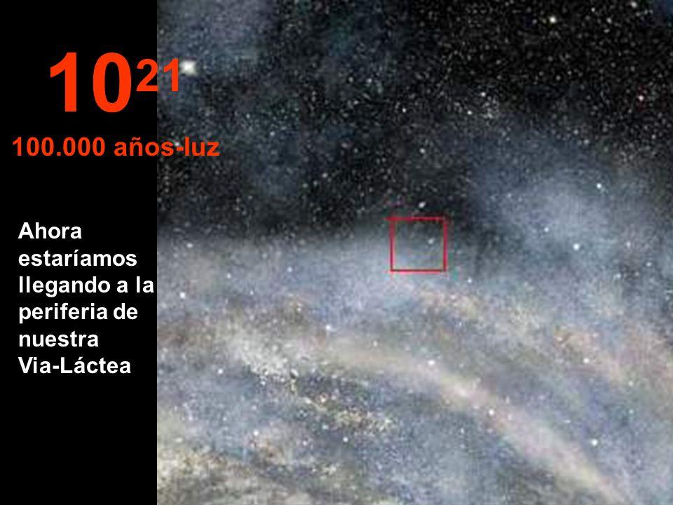 1021 100.000 años-luz Ahora estaríamos llegando a la periferia de nuestra Via-Láctea