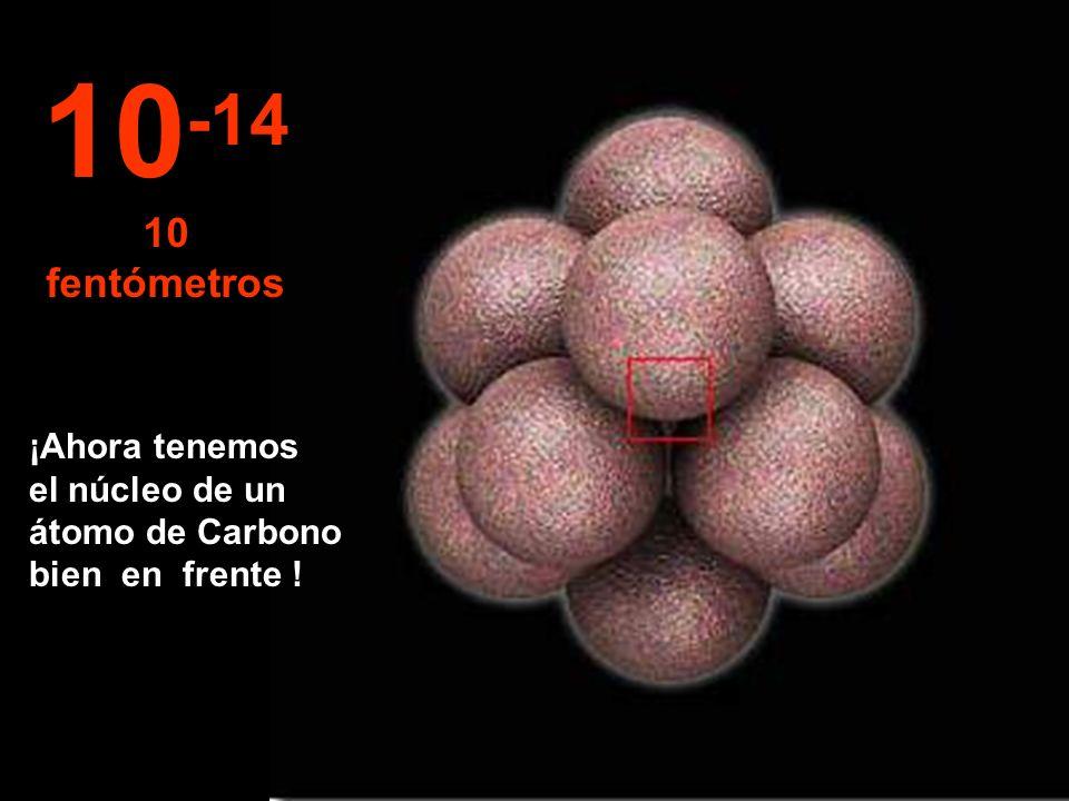 10-14 10 fentómetros ¡Ahora tenemos el núcleo de un átomo de Carbono bien en frente !