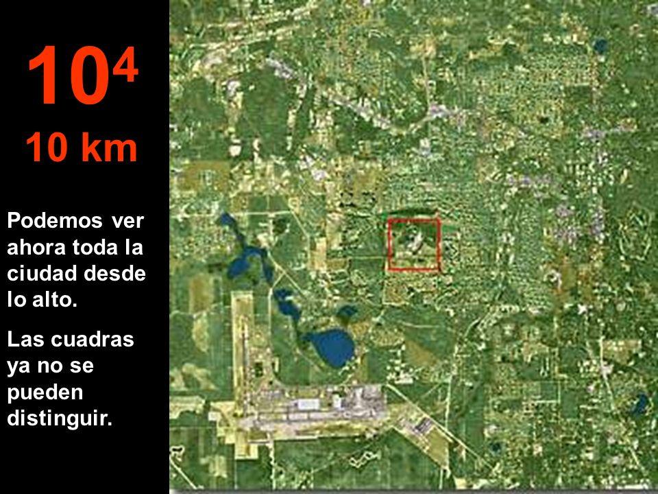 104 10 km Podemos ver ahora toda la ciudad desde lo alto.