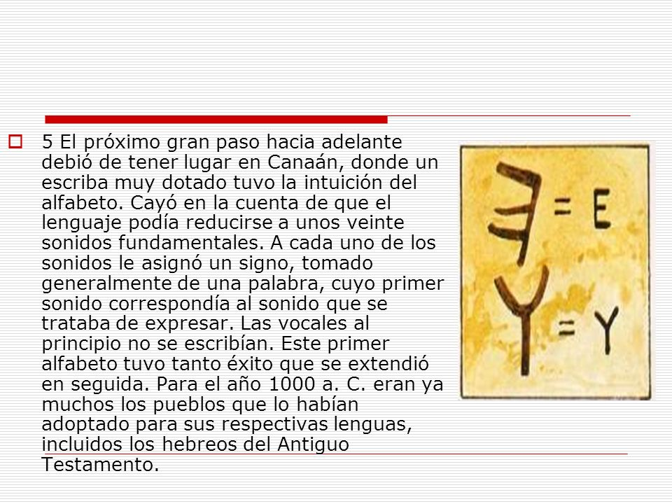 5 El próximo gran paso hacia adelante debió de tener lugar en Canaán, donde un escriba muy dotado tuvo la intuición del alfabeto.