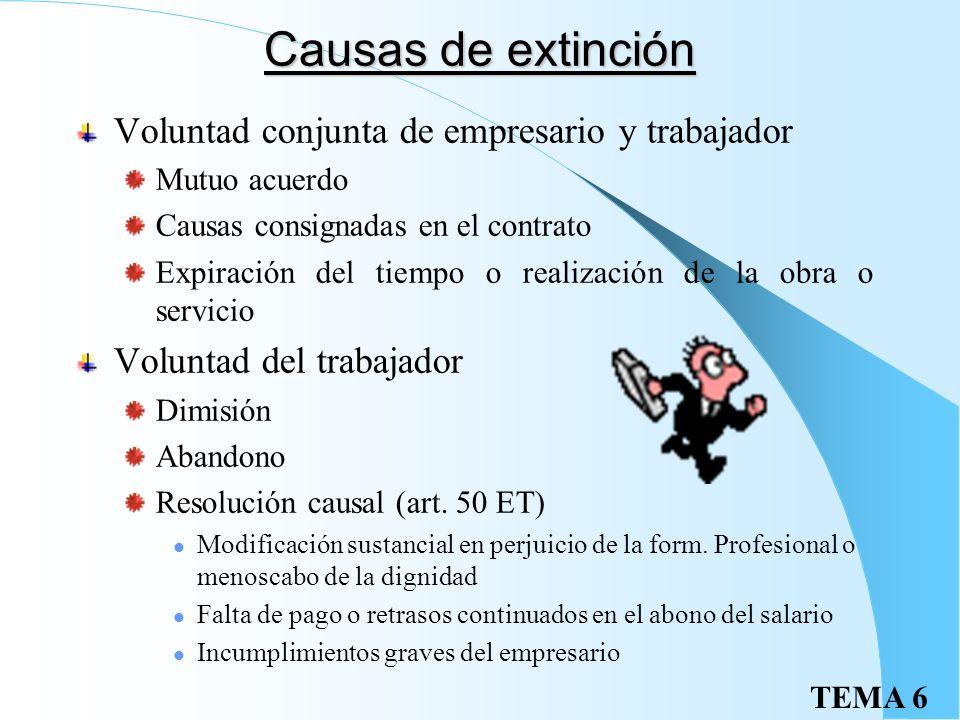Causas de extinción Voluntad conjunta de empresario y trabajador