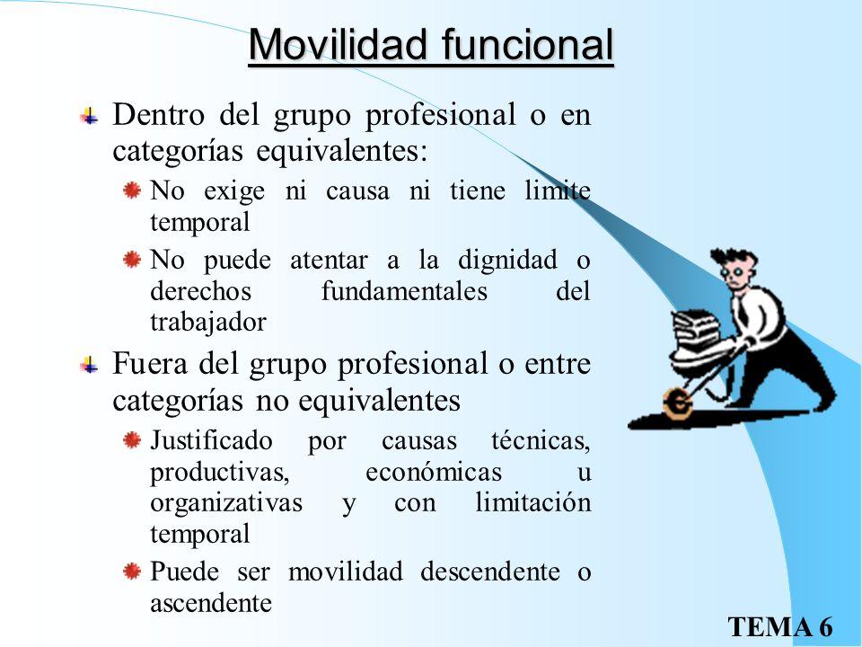 Movilidad funcional Dentro del grupo profesional o en categorías equivalentes: No exige ni causa ni tiene limite temporal.