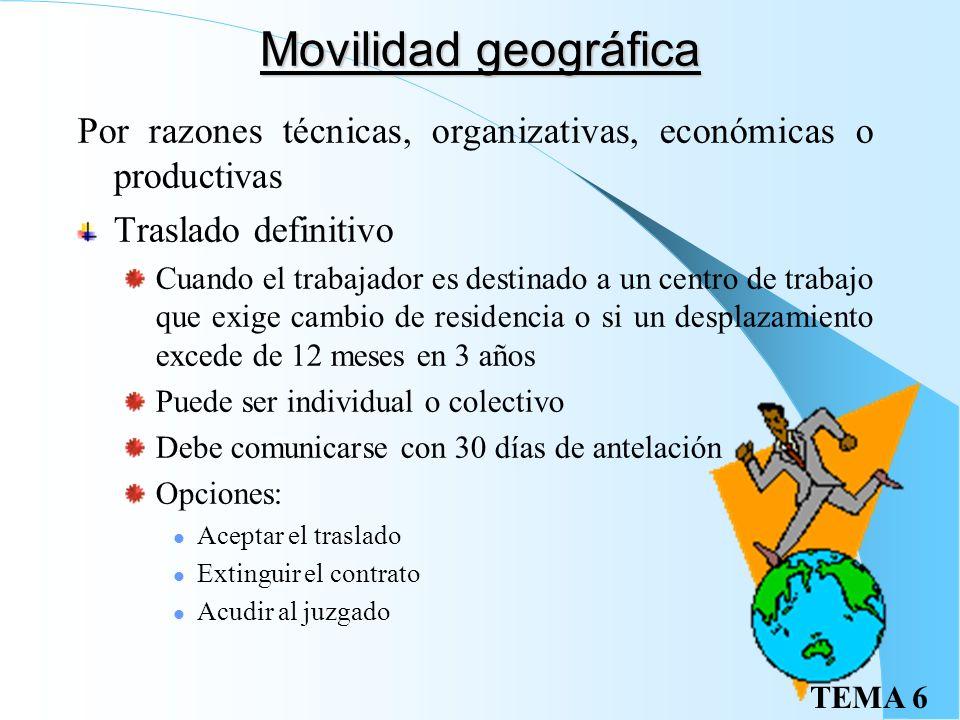 Movilidad geográfica Por razones técnicas, organizativas, económicas o productivas. Traslado definitivo.