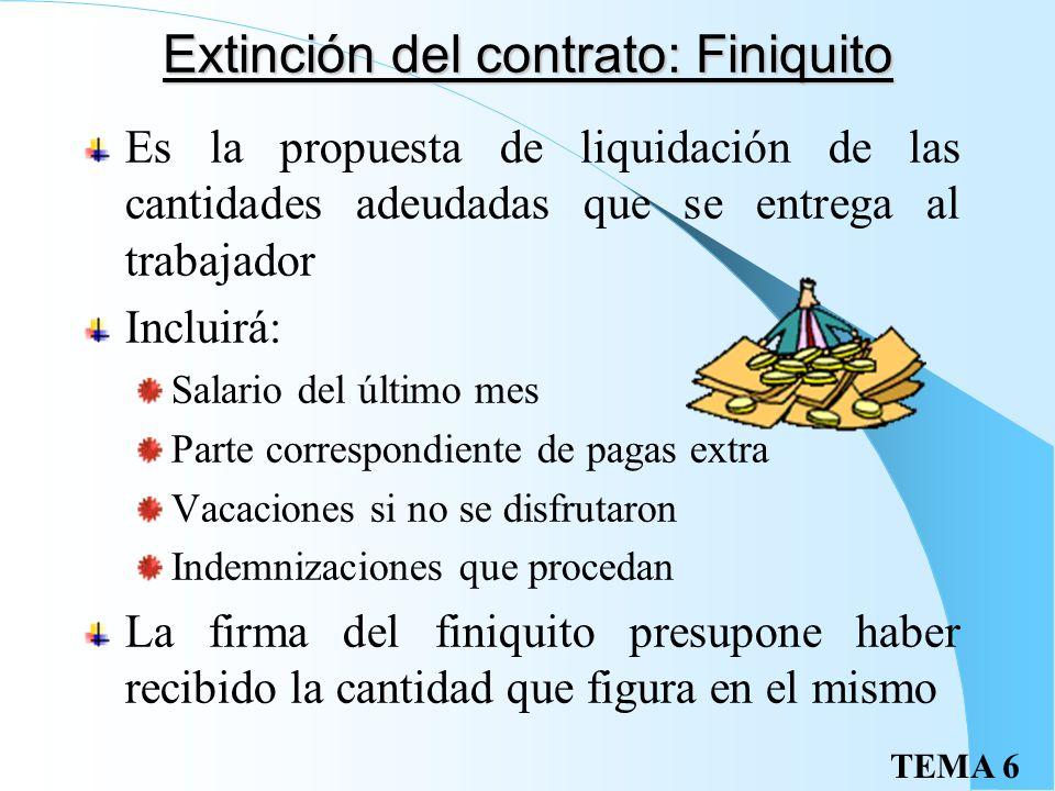 Extinción del contrato: Finiquito