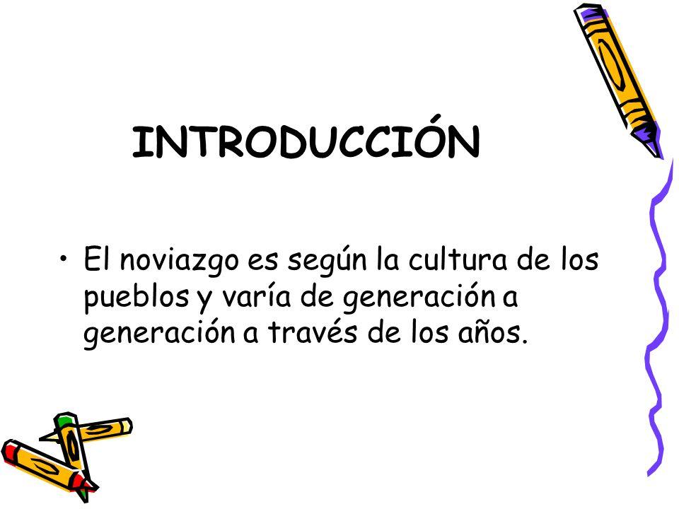INTRODUCCIÓN El noviazgo es según la cultura de los pueblos y varía de generación a generación a través de los años.