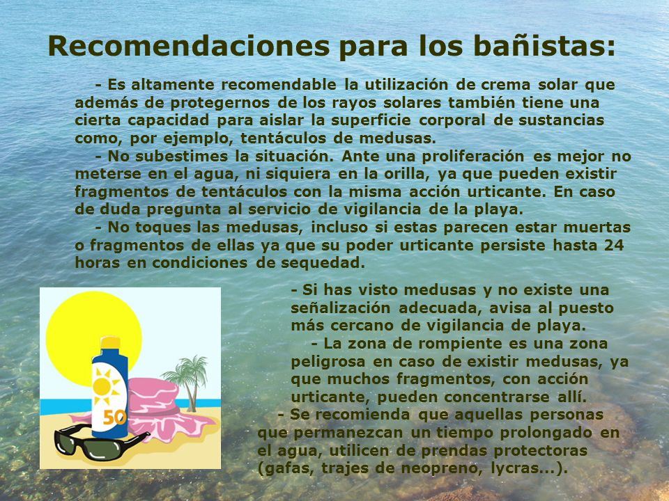 Recomendaciones para los bañistas: