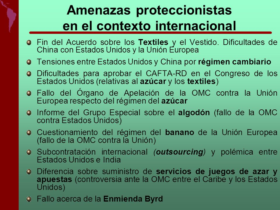 Amenazas proteccionistas en el contexto internacional
