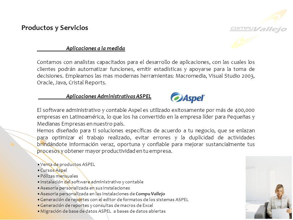 Productos y Servicios Aplicaciones a la medida