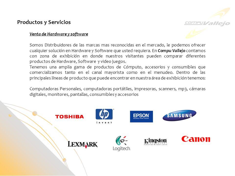 Productos y Servicios Venta de Hardware y software