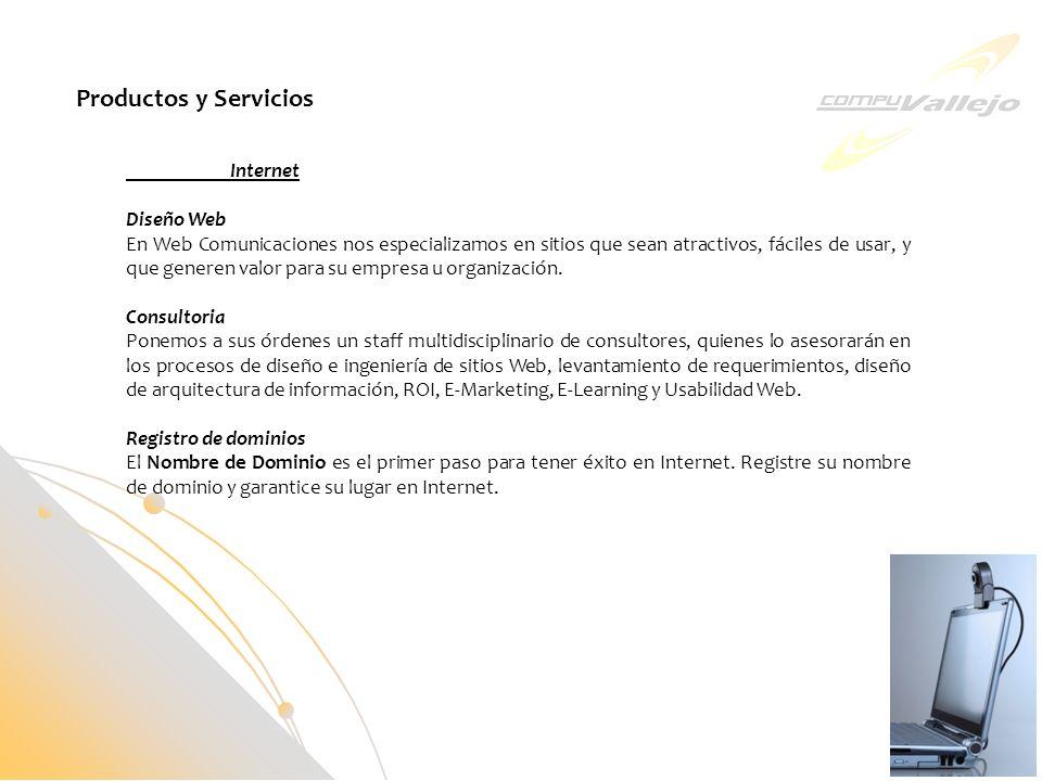 Productos y Servicios Internet Diseño Web