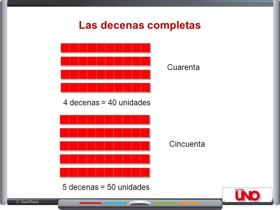 Las decenas completas Cuarenta 4 decenas = 40 unidades Cincuenta